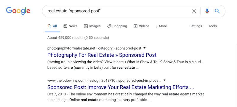 real estate sponsored post