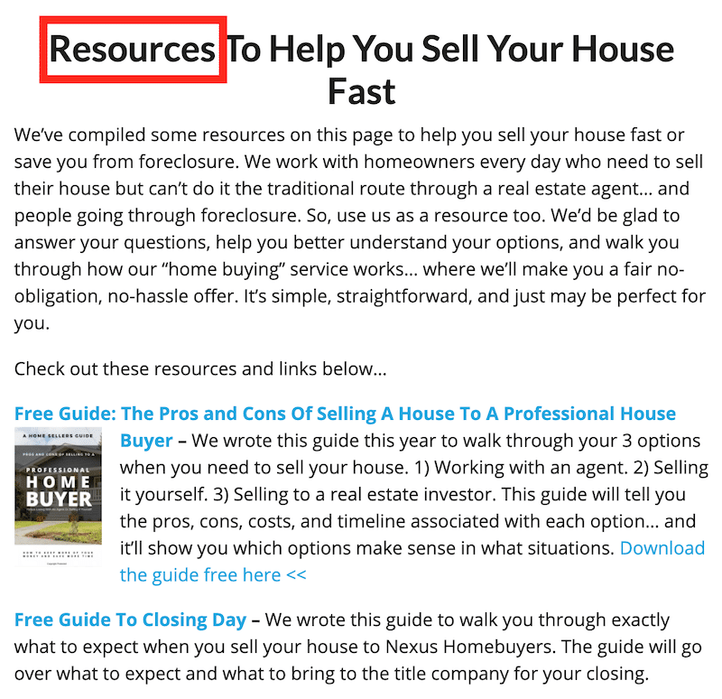 real estate investor resource page